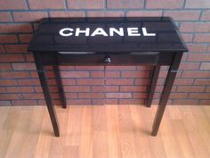 CHANEL console table with drawer. black with white. I will be making something like this for my home.