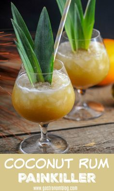 A twist on the classic Painkiller cocktail, this coconut rum and dark rum version has a deeper flavor and is perfect for a tropical cocktail. #rum #cocktails #coconutrum #coconut #orangejuice