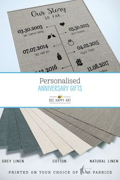 We offer a selection of timeline fabric prints, perfectly thoughtful gifts for any special occasion or anniversary! Especially ideal for cotton (2 years) and linen (4 or 12 years) anniversaries, most designs can include up to 12 dates. We also offer black or white framing options and an extensive collection of icon images to choose from! Visit our shop to view all designs... #BeeHappyArt #2yearanniversary #4yearanniversary #timeline #anniversarygiftsforhim #anniversarygiftideas 4 Year Anniversary, Anniversary Gifts For Him, Personalized Anniversary Gifts, Happy Art, Bee Happy, Natural Linen, Thoughtful Gifts, All Design, Cotton Linen