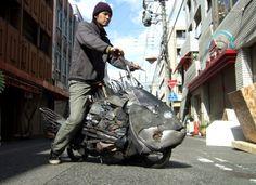 Rubbish fish art : Yodogawa Technique in social art  with rubbish river japan discarded Bike
