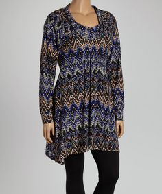 Look what I found on #zulily! Black & Blue Zigzag Cowl Neck Tunic - Plus #zulilyfinds