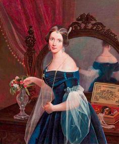 Portrait of Natalya Pavlovna Panina by Pimen Nikitich Orlov, Russia (I really like this: color, sleeves, pleated bertha) Female Portrait, Portrait Art, Female Art, Old Paintings, Beautiful Paintings, Old Dress, Classical Art, Historical Clothing, 1800s Clothing