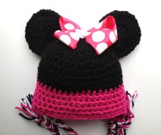 Minnie Mouse inspired hat crochet baby hat by BloomingRoseCrochet