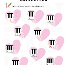 Piano Key naming worksheet for Valentine's Day - Fun and Learn Music » Music Worksheets – Velentine – All 7 Keys