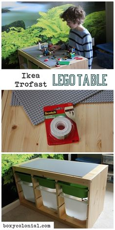 Easy Ikea hack: Lego table with tons of storage. Our Lego table is easily one of the the most popular items in the Children's room. Mesa Lego, Kids Boy, Boys, Baby Room Storage, Bedroom Storage, Ikea Trofast, Lego Storage, Storage Ideas, Craft Storage