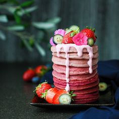 Ombre Beetroot Gluten Free Pancakes - Best of Vegan Best Vegan Pancakes, Gluten Free Pancakes, Sweets Recipes, Baking Recipes, Vegan Sweets, Healthy Sweets, Healthy Eating Recipes, Vegan Recipes, Love Beets