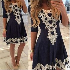 Women's Short Sleeve Lace patchwork Casual Cute Dress