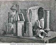 """Giorgio Morandi - """"Grande natura morta con la lampada a destra"""", etching, 1928"""