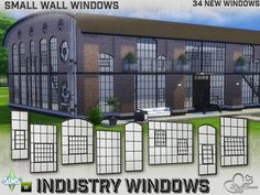 Industry Windows for Small Wall Size by BuffSumm at TSR via Sims 4 Updates