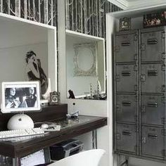 Monochrome home office.