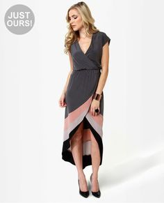 love the high low with the coral/grey contrast