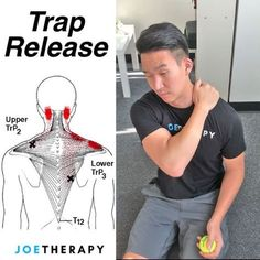 Acupuncture For Back Pain Trap muscle neck pain trigger point release - Scoliosis Exercises, Back Pain Exercises, Neck And Shoulder Pain, Neck And Back Pain, Qi Gong, Fitness Workouts, Traps Muscle, Psoas Release, Trigger Point Therapy