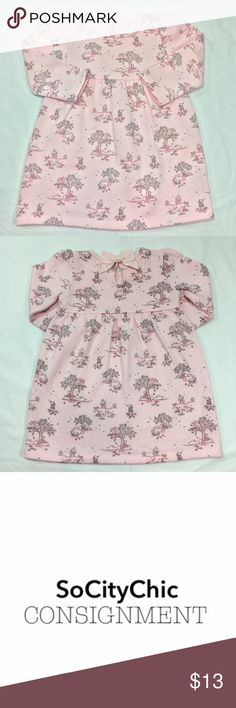 GYMBOREE LONG SLEEVE DRESS GYMBOREE LONG SLEEVE DRESS. SQUIRREL, FOX AND TREE PRINT. LONG SLEEVE. CREW NECK. CENTER BACK BUTTON CLOSURE WITH BOW DETAIL. FABRIC: COTTON/ POLYESTER. CONDITION: GENTLY USED/ NO SIGNS OF WEAR. SIZE 18-24M Gymboree Dresses Casual