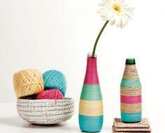 Soda şişesi ile renkli dekoratif vazo yapımı