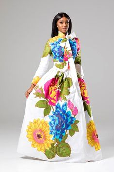 (Pre-Order, Ships in Weeks) African Print White Floral Pussy-bow Maxi Dress - Thalia African Maxi Dresses, Ankara Dress, African Attire, African Wear, African Women, Dashiki Dress, African Style, African Print Fashion, Dress With Bow