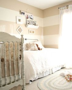 I love stripes in a nursery...30 Gender Neutral Nursery Design Ideas | Kidsomania
