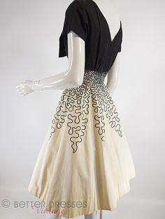 50s Black & Cream Full Skirt Prom or Party Dress - sm – Better Dresses Vintage