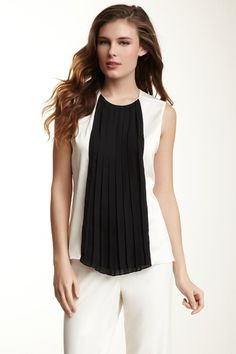 Vince Camuto    Pleated Front Colorblock Shell Top Shell Tops, Vince Camuto, Color Blocking, Basic Tank Top, Black And White, Tank Tops, My Style, Women, Fashion