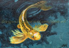 Koi are just the most graceful beautiful lucky fish! ACEO TW AUG Original art koi fish rivers lakes water miniature painting-SMcNeill