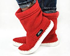 Crochet Boots Knit boots  for  street adult   outdoor от ukicrafts