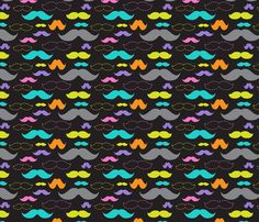 Mixed Mustaches fabric by joannepaynterdesign on Spoonflower - custom fabric