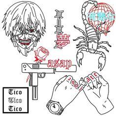Dark Art Drawings, Tattoo Design Drawings, Tattoo Sketches, Tattoo Designs, Sharpie Tattoos, Grunge Tattoo, Graffiti Doodles, Doodle Tattoo, Tattoo Flash Art