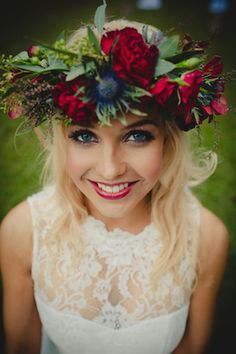 Winter flower crown | Just For Love Photography | see more on: http://burnettsboards.com/2014/08/intimate-wintry-garden-wedding/