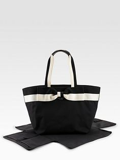 Kate Spade New York - Anabel Baby Bag - A grosgrain ribbon bow accents this trim tote with double shoulder straps plus inner straps to secure bag to stroller. Includes removable changing pad and detachable coin purse.