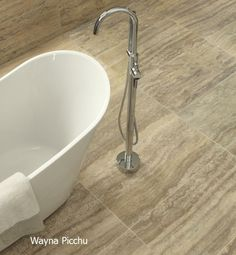 This Peruvian travertine is so compact that it makes each tile lighter, easier to manoeuvre, cut and install.
