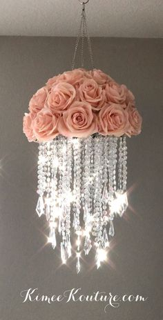 This type of floral nursery can be a very inspirational and great idea Acrylic Chandelier, Diy Chandelier, Chandeliers, Chandelier Crystals, Chandelier Centerpiece, Flower Chandelier, Nursery Chandelier, Red Centerpieces, Floral Nursery