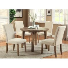 Furniture of America Nash Round Top Dining Table, 42-Inch, Light Oak