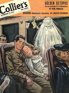 """Just Married"" at the end of WWII - and riding the bus (or is it the train?) on their ""honeymoon"" - maybe on his short furlough, or on way to his next posting. WWII era Collier's magazine cover, November 10, 1945"