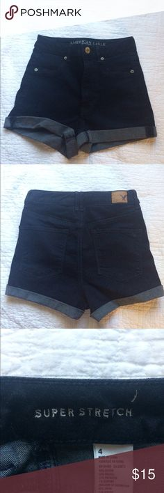 Size 4 American Eagle high waisted stretch shorts American Eagle Dark wash high waisted shorts. Super stretch material. Worn once American Eagle Outfitters Shorts Jean Shorts