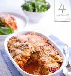 BAKED RAVIOLI  Serves 4 – 6.  500g (17 oz.) ravioli  500g (17.0z) pasta sauce  1/2 cup grated parmesan cheese  2 sprigs parsley, chopped  Preheat oven to 375F/190C. Cook ravioli in boiling water until it is just cooked, drain. Line a casserole dish with a thin layer of pasta sauce, add a layer of ravioli and sprinkle a layer of cheese and a touch of parsley. Repeat layering process. Finish with a sprinkle of cheese. Bake for 15 to 20 minutes or until golden.