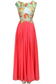 Coral and blue floral applique work pleated kurta set available only at Pernia's Pop-Up Shop.