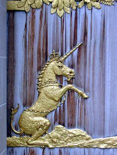 Unicorn - Queen's Gallery doors    Edinburgh Scotland
