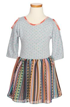 Knit and Woven Mixed Dress for girls