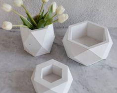 Geometrische saftigen Pflanzengefäße set von 3 Beton von FactoLab