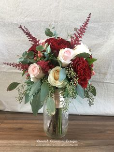 Blush and burgundy bouquet- roses, astible, hypericum berry, seeded eucalyptus