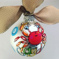 Crab Ornament, Hand-Painted, Personalized