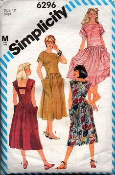 Simplicity 6296 Womens Drop Waisted Dress with Cut Out Back 80s Vintage Sewing Pattern Size 12 Bust 34 inches