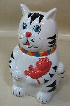 FWC Cook's Bazaar White Cat Black Spots Holding A Red Mouse Cookie Jar Good PC | eBay