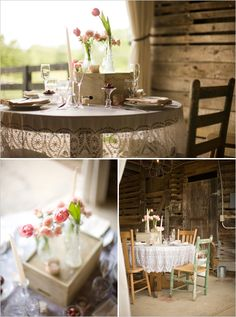Love this romantic, rustic, and simple table setting.  Soft and pretty.  Image via The Wedding Chicks on July 18, 2011.