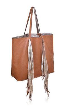 Sara Battaglia - Everyday Shopper in Silver Cognac Calf Leather on Moda Operandi