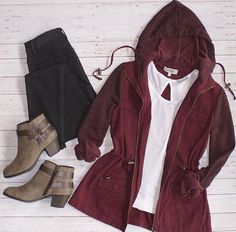 Fall red rain jacket grey boots outfit