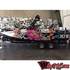 Sweet custom boat wrap in Avery and DOL Thanks One 11 Ink… Expensive Yachts, Malibu Boats, Wakeboard Boats, Boat Wraps, Fast Boats, Boat Interior, Boat Painting, Wet Dreams, Jet Ski