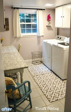 See this beautiful laundry room makeover complete with a surprise table makeover at betterafter.net