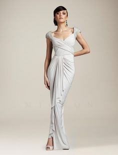 1940s Formal Dresses, Prom Dresses, Cocktail Dresses History.. White Grecian Style 40′s Gown at TJ Formal