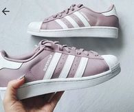 Pink And White Striped Superstar Adidas