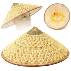 Oriental Vietnamese Chinese Asian Straw Cone Shaped Fishing Sun Rice Bamboo Hat